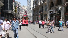 Retro tram rides along the main street Taksim. In Istanbul, Turkey stock video