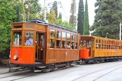 Retro tram of Soller, Mallorca  Royalty Free Stock Images