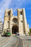 Retro tram on the street in Lisbon, Portugal Royalty Free Stock Photo