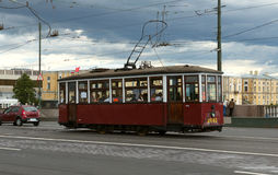 Retro Tram. On the streets of St. Petersburg Royalty Free Stock Image