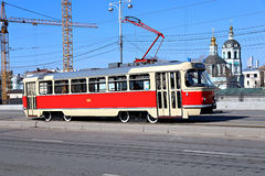 Retro trams in Moscow Royalty Free Stock Images