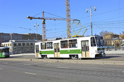 Retro trams in Moscow Royalty Free Stock Image