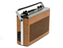 Retro Transistor radio of 60s and 70s design stock photography