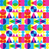 Retro transparent shapes pattern. Seamless CMYK transparency trend background Stock Image