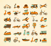 Retro transport icons set Royalty Free Stock Photography
