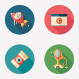 Retro transport and medical supplies flat round icons. Stock Photo