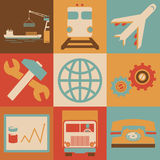 Retro Transportation Icons Flat Style for Web and Stock Images