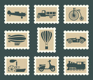 Retro transportation set. Retro transportation on postage stamps Royalty Free Stock Images