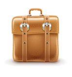 Retro travel bag made with leather  belts Stock Images
