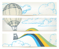 Retro travel banners. Hot air balloon over sky set of banners Stock Image