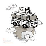 Retro Travel bus. Retro Isolated Travel bus can be used as a greeting card Royalty Free Stock Photo