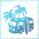 Retro Travel bus. Retro  Travel bus can be used as a greeting card Royalty Free Stock Photo