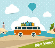 Retro travel bus concept. Summer holiday. Vector background Royalty Free Stock Images