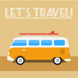 Retro travel-bus with surf board. Summer retro  illustration. Retro retro-bus with surf board Royalty Free Stock Image