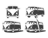 Retro Travel buses set. Design elements Stock Photos