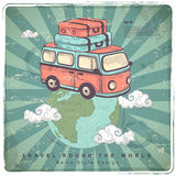 Retro Travel car illustration. Earth Royalty Free Stock Image