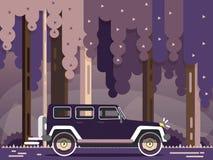 Retro travel jeep with landscape. Vector modern retro car. Tourism design.Travel by car. Retro travel jeep with landscape Stock Photos