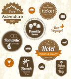 Retro travel labels. Editable vector set Stock Photo