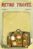 Retro Travel Postcard - Old Suitcase Royalty Free Stock Photos