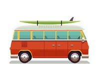 Retro travel red van icon. Surfer van. Vintage travel car. Old classic camper minivan. Retro hippie bus. Vector. Illustration in flat design isolated on white Stock Images