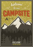 Retro travel typography poster with camping symbols - tent, mountains, forest. Vector typography design. Hand drawn. Lettering poster with mountain, sunbursts Stock Photography