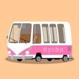 Retro travel van in cartoon Stock Image
