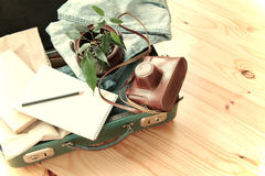 Retro traveler baggage Royalty Free Stock Photo