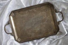 Retro tray on tablecloth Royalty Free Stock Photo