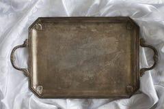 Retro tray on tablecloth Stock Photo