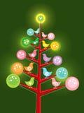 retro tree för fågelungejul royaltyfri illustrationer