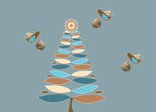 retro tree för jul stock illustrationer