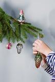 retro tree för julprydnadar Royaltyfri Fotografi