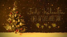 Retro Tree, Snow, Calligraphy Gutes Neues Means Happy New Year, Snowflakes Stock Photo