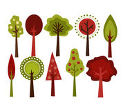 Retro Trees. Retro and modern red and green trees Royalty Free Stock Images