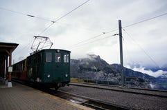 Retro trein die van Wilderswil naar Schynige platte met mist en overweldigende mening van alpien bos als achtergrond reizen Jungf Stock Fotografie
