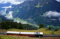 Retro trein van Interlaken, Wilderswil aan Schynige Platte en overweldigende mening van alpien bos, bergketen Stock Foto's
