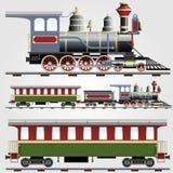 Retro treno del vapore con la vettura Immagine Stock