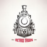 Retro treno, simbolo d'annata di vettore Immagini Stock