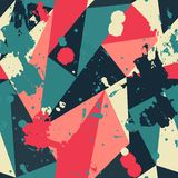 Retro triangle seamless pattern with blob effect Royalty Free Stock Photos