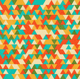 Retro triangles bright background. Ethnic triangles seamless pattern with grunge texture stock illustration