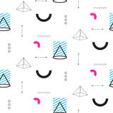 Retro triangles in 90s style seamless vector pattern. Abstract shapes, color blocks and elements in eighties fashion design. Geometry lines on white Royalty Free Illustration
