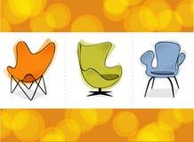 retro triovektor för stol Arkivfoto