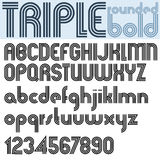 Retro triple line rounded bold font. Royalty Free Stock Images