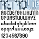 Retro triple line stripes font, pattern old style alphabet. Stock Images