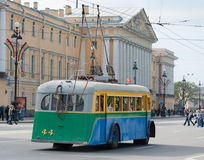 Retro trolleybus in St. Petersburg, Russia Stock Photos