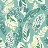 Retro tropikalni liście i ulistnienie bezszwowy deseniowy wektor w Han Zdjęcie Royalty Free