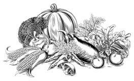 Retro träsnittgrönsaker för tappning Royaltyfria Bilder