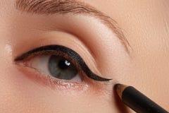 Retro trucco di stile Dettaglio quotidiano di trucco eyeliner Bei occhi immagine stock