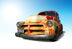 Retro truck. Funky retro American Truck. Outlined With Clipping Path Stock Image