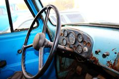 Retro truck dashboard and steering wheel Royalty Free Stock Photo